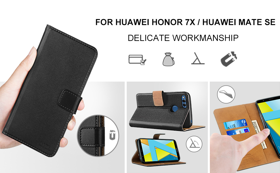 Huawei Honor 7X Case,High Quality Wallet Business Phone Case Cover (Black)-2
