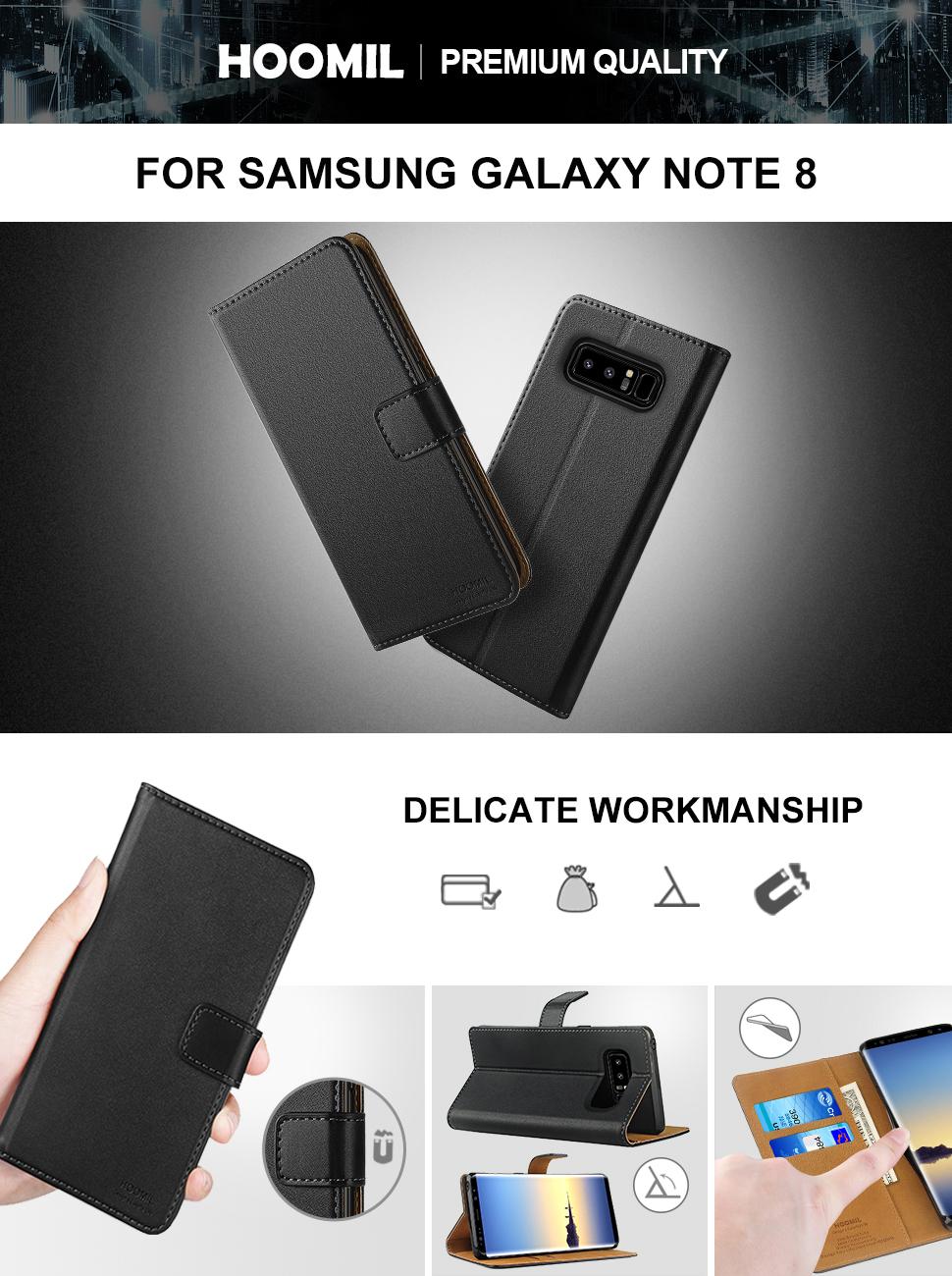 Samsung Galaxy Note 8 Case,Premium Leather Flip Wallet Phone Case Cover (Black)
