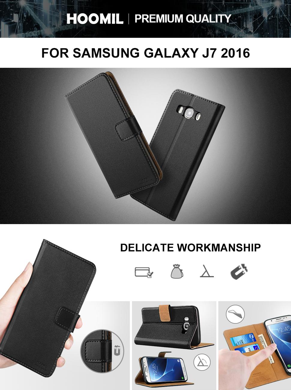 Samsung Galaxy J7 2016 Case Leather Flip Wallet Phone Case Cover (Black)