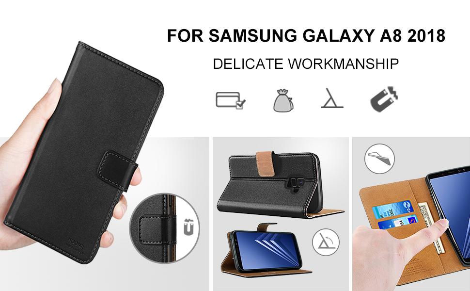 Samsung Galaxy A8 2018 Premium Leather Flip Wallet Phone Case Cover (Black)-2