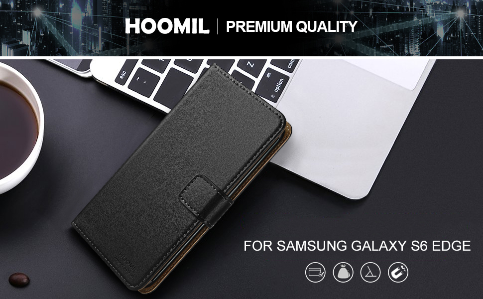 Samsung Galaxy S6 Edge Case,Premium Leather Flip Wallet Phone Case Cover (Black)