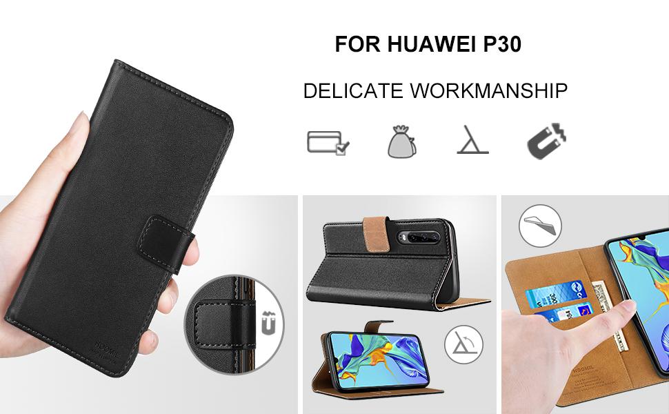 Huawei P30 Case,Premium Leather Flip Wallet Phone Case Cover (Black)-2