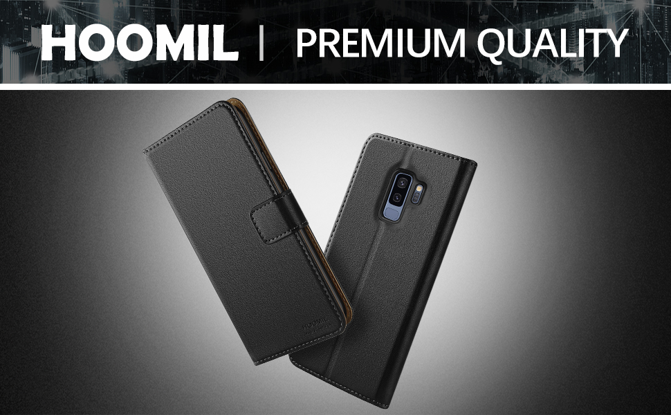 Samsung Galaxy S9 Plus Case,Premium Leather Flip Wallet Phone Case Cover (Black)