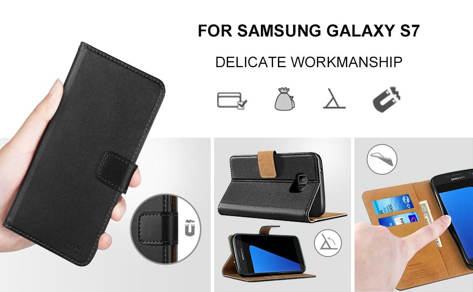 Samsung Galaxy S7 Case,Premium Leather Flip Wallet Phone Case Cover