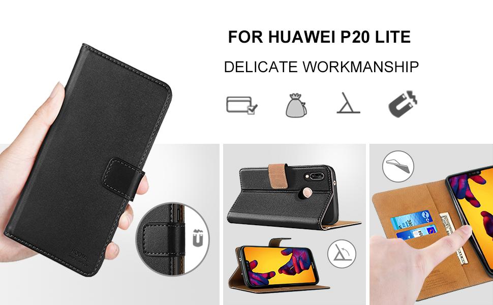 Huawei P20 Case,Premium Leather Flip Wallet Phone Case Cover (Black)-2