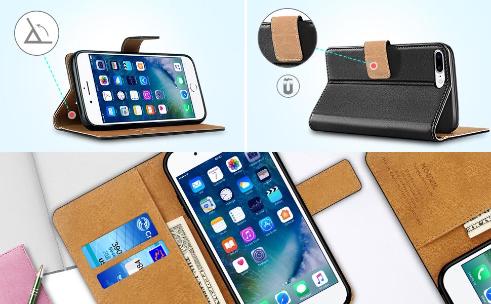 iPhone 8 Plus Case  ,Premium Leather Flip Wallet Phone Case Cover (Black)-2