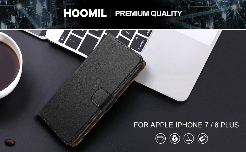 iPhone 8 Plus Case  ,Premium Leather Flip Wallet Phone Case Cover (Black)