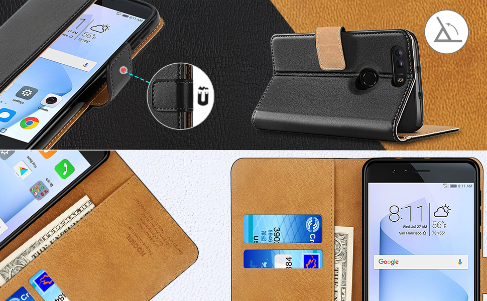 Huawei Honor 8 Case,High Quality Wallet Business Phone Case Cover (Black)-2