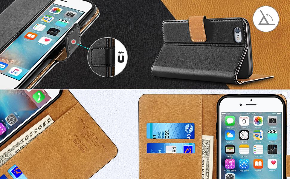 iPhone 6 Plus Case / iPhone 6S Plus Case  ,Premium Leather Flip Wallet Phone Case Cover (Black)-2