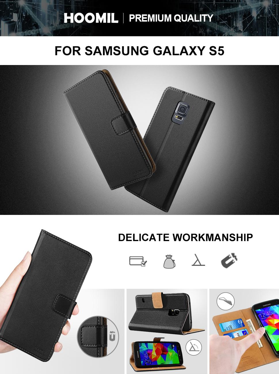 Samsung Galaxy S5 Case,Premium Leather Flip Wallet Phone Case Cover (Black)