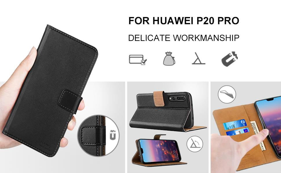 Huawei P20 Pro Case,Premium Leather Flip Wallet Phone Case Cover (Black)-2