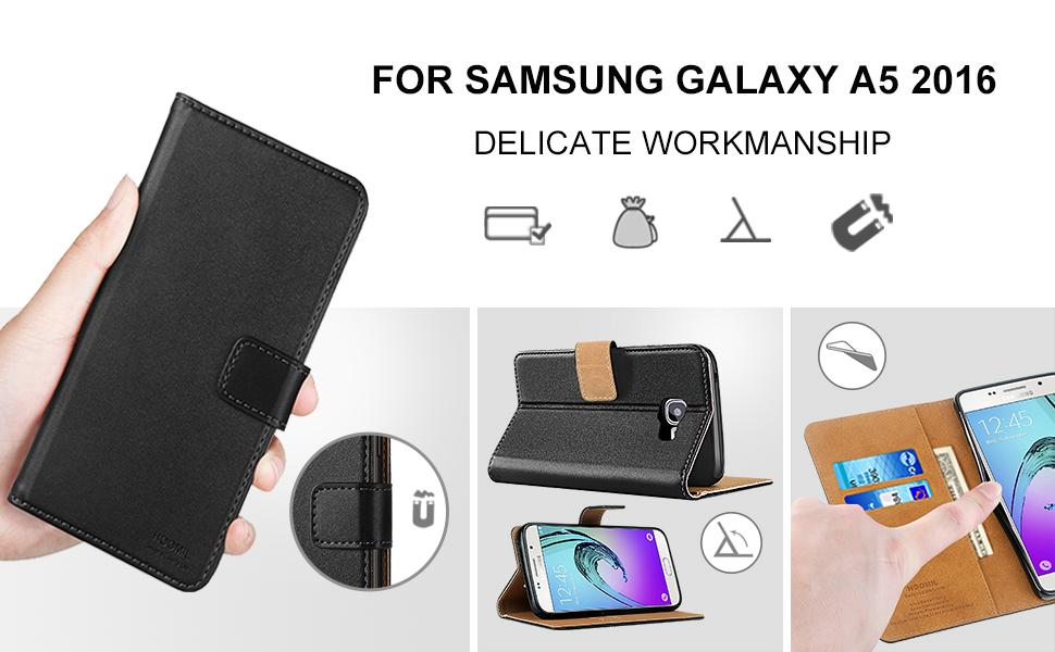 Samsung Galaxy A5 2016 Premium Leather Flip Wallet Phone Case Cover (Black)-2