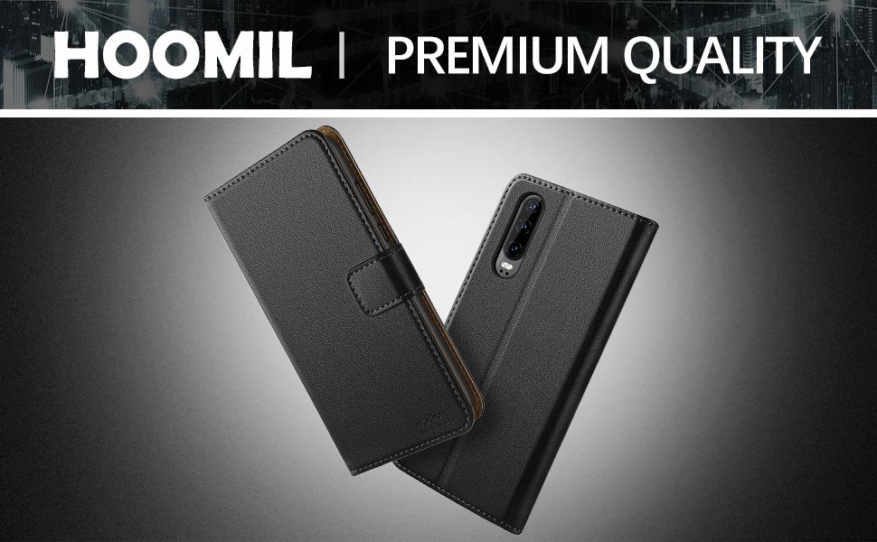 Huawei P30 Case,Premium Leather Flip Wallet Phone Case Cover (Black)