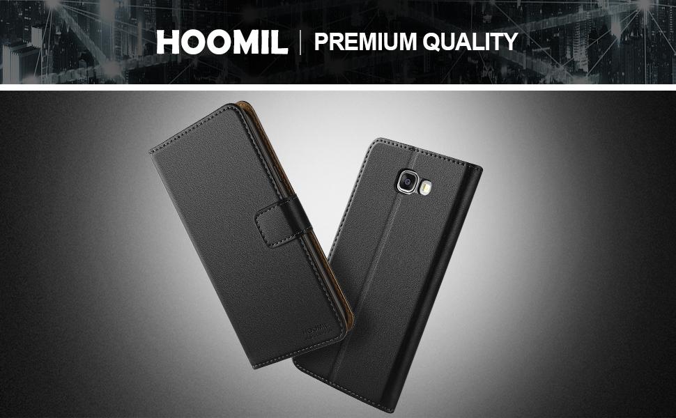 Samsung Galaxy A5 2016 Premium Leather Flip Wallet Phone Case Cover (Black)