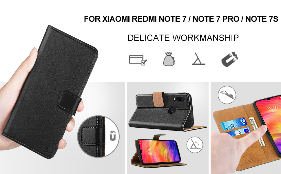 HOOMIL Case Compatible with Xiaomi Redmi Note 7, Premium Leather Flip Wallet Phone Case for Xiaomi Redmi Note 7/Redmi Note 7 Pro Cover (Black)