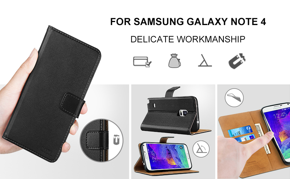 Samsung Galaxy Note 4 Case,Premium Leather Flip Wallet Phone Case Cover (Black)
