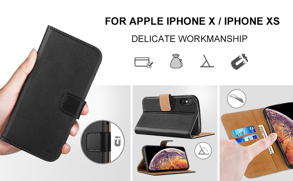 iPhone X / XS Case  ,Premium Leather Flip Wallet Phone Case Cover (Black)-2