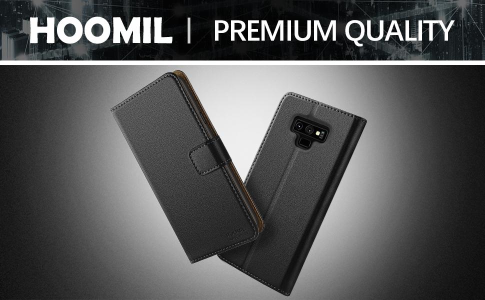 Samsung Galaxy Note 9 Case,Premium Leather Flip Wallet Phone Case Cover (Black)