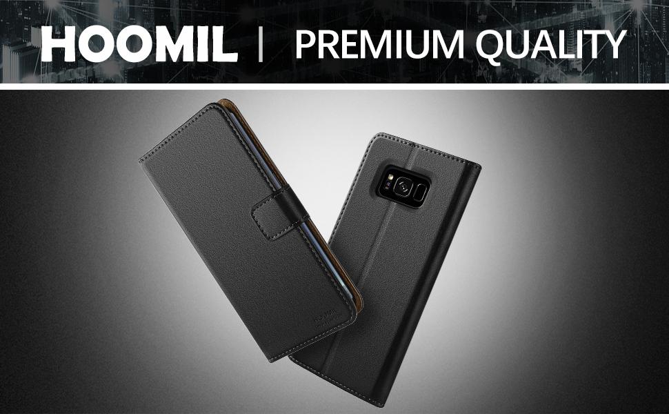 Samsung Galaxy S8 Plus Case,Premium Leather Flip Wallet Phone Case Cover (Black)