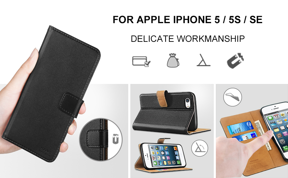 iPhone 5 Case  ,Premium Leather Flip Wallet Phone Case Cover (Black)-2