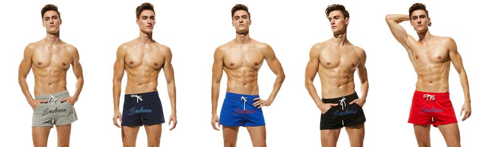SEOBEAN Mens home pants Low Rise Sports Soft Running Training Shorts 5 colors