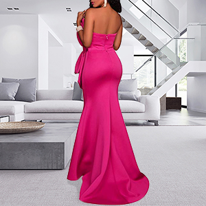 rosy mermaid gowns for women