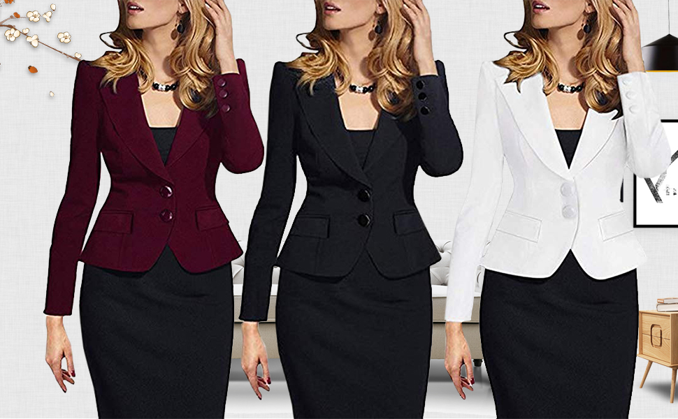 Women's Formal Two Button Slim Fitted Blazer Suit Coat