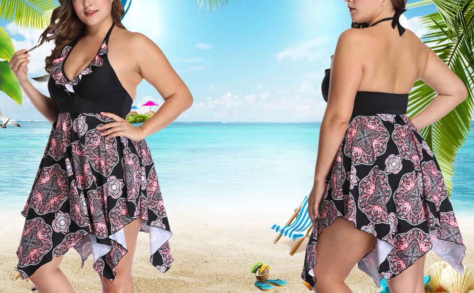 SEBOWEL Women Plus Size Floral Halter 2 Piece Flare Swimdress Tankini Swimsuit