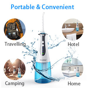 Water Flosser Oral Irrigator, YUNDOO Cordless Rechargeable Anti Leakage  Non-slip 300 Ml Water Pick Teeth Cleaner with Power Light for Braces,