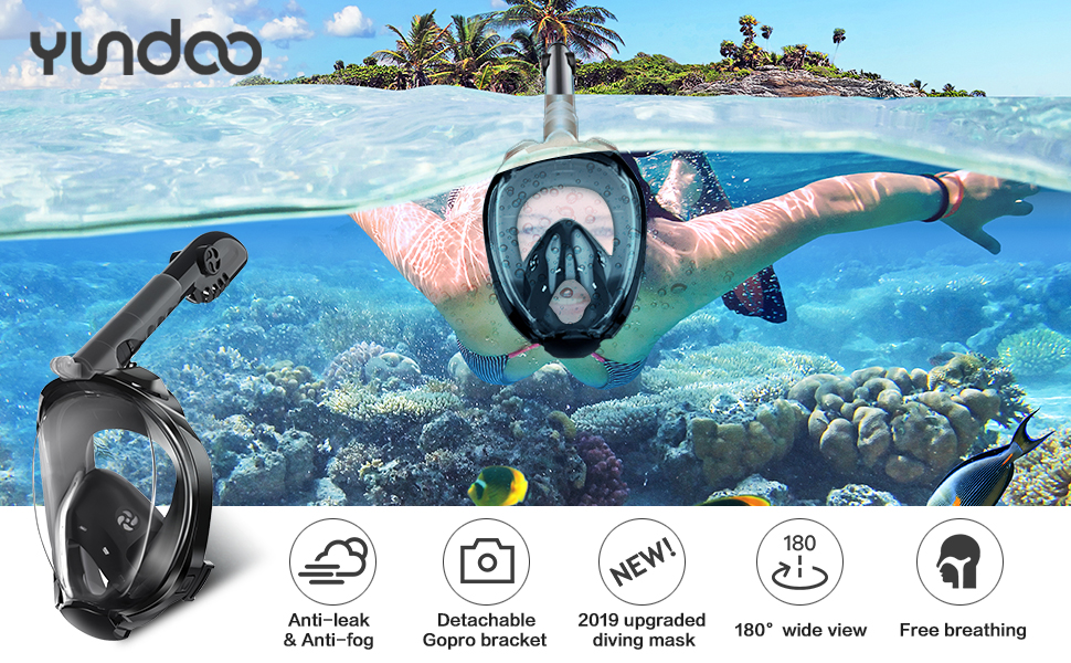 180/°Panoramic View Free Breathing Foldable Tube Design YUNDOO Full Face Snorkel Mask Anti-Leak Anti-Fog Snorkeling Diving Mask with Detachable Camera Mount /& Adjustable Head Straps for Adult Black