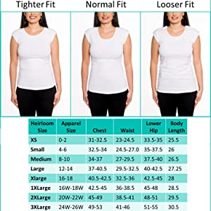 Heirloom Clothing Womens Tops Size Chart