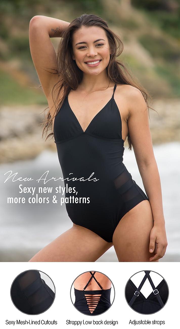 6bb1579c25 bawdy Women's Retro 80s One Piece Plus Size Monokini Swimsuit ...