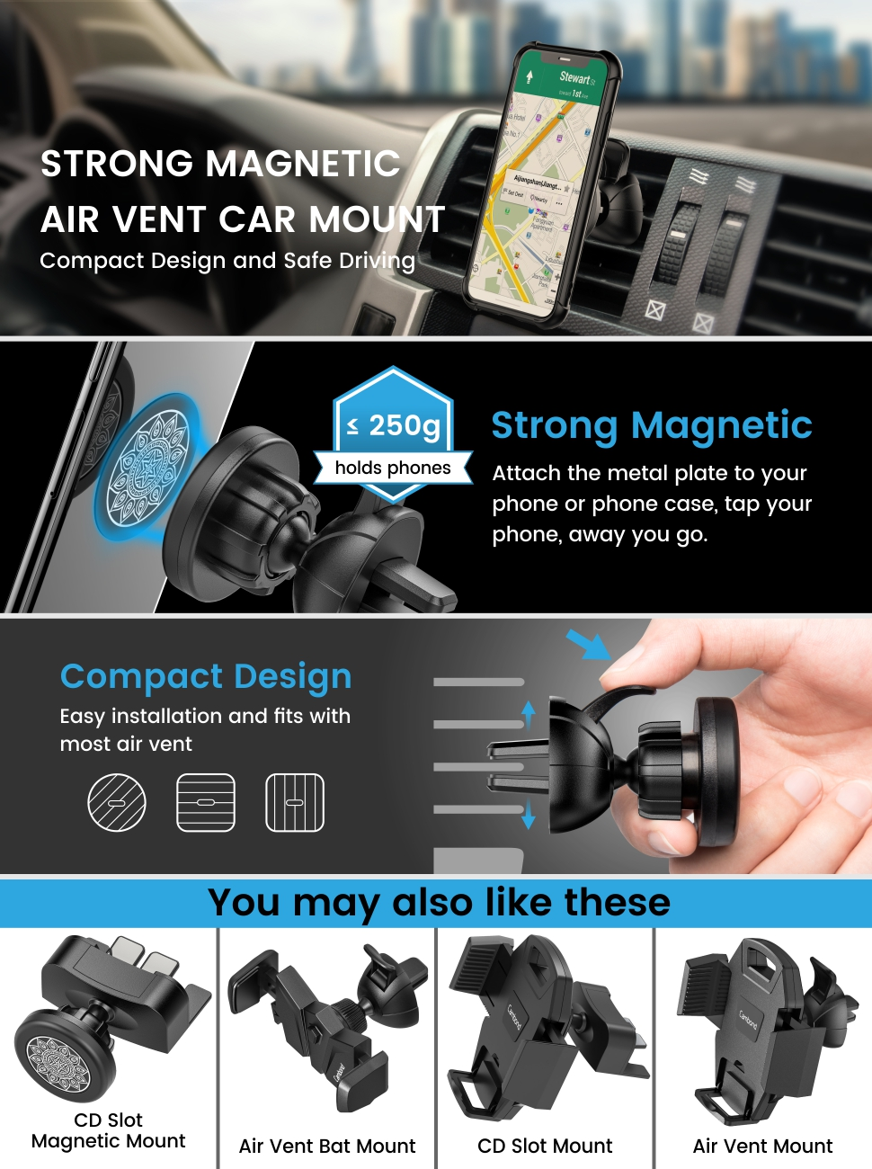 Air Vent Dashboard Cell Phone Holder for iPhone X//8//8P//7//7P//6//6P//6s,Samsung Galaxy S9//S8//Note 8 Cambond Magnetic Car Phone Mount Magnetic Phone Mount for Car Google Pixel//LG//Huawei