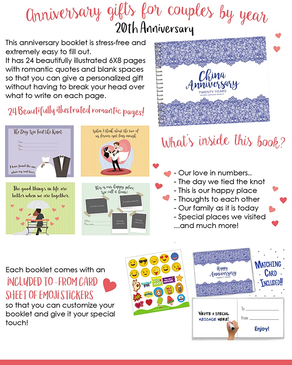 Amazon Unique 20th Wedding Anniversary Memory Book With