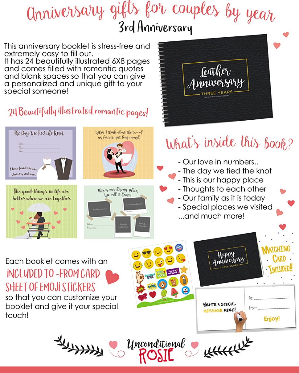 Amazon.com: Unique 3rd Wedding Anniversary Memory Book with Stickers ...