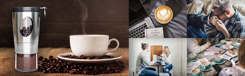 coffee grinder manual Foldable Handle Stainless Steel Coffee Bean Grinder