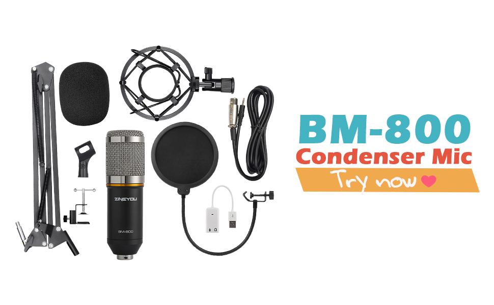 ZINGYOU Condenser Microphone Bundle, BM-800 Mic Kit with Adjustable Mic  Suspension Scissor Arm, Shock Mount and Double-layer Pop Filter for Studio