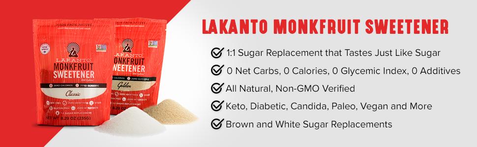 Lakanto Monkfruit Seetener tastes just like Sugar, is All natural, Keto, and Diabetic