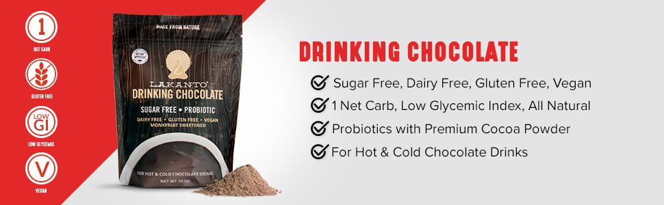 Lakanto Drinking Chocolate, Sugar Free, Dairy Free, Gluten Free, Vegan, Probiotics, Low Carb