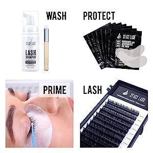 eyelash extension glue adhesive primer brushes eyepads lashview premade fans jade stone led lamp