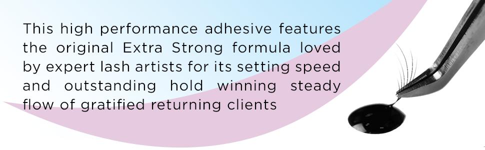 eyelash extension glue adhesive strength primer pads sensitive 1 second fast retention long lasting