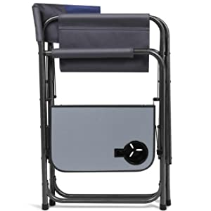 Amazon Com Portal Compact Steel Frame Folding Director S Chair Portable Camping Chair With Side Table Supports 225 Lbs Blue Grey Sports Outdoors