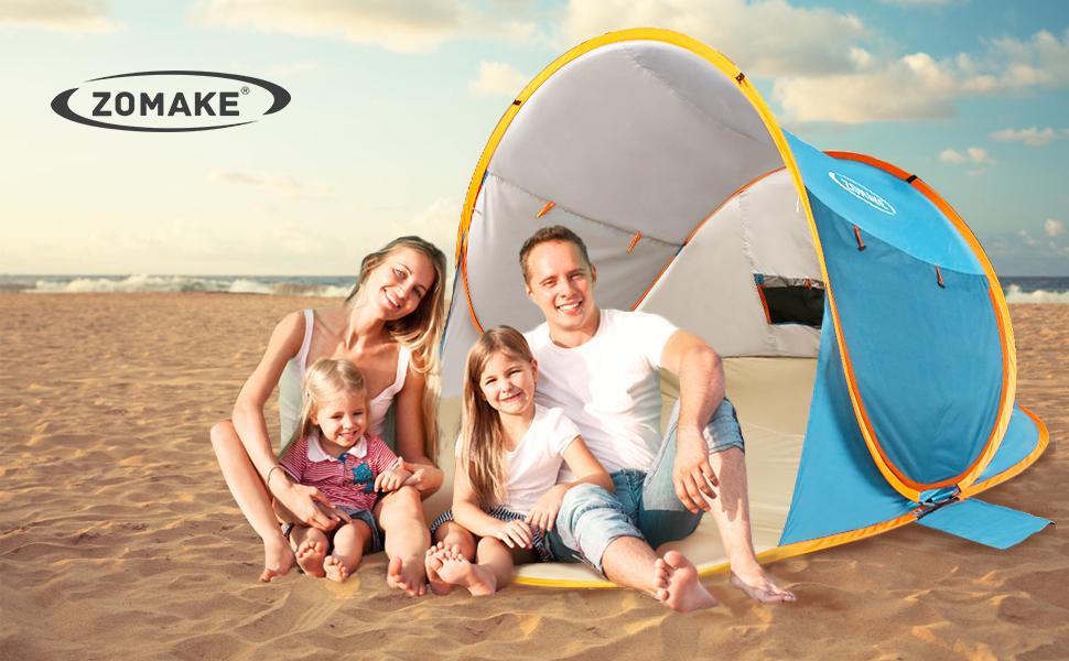 Protecci/ón UV Refugios solares Exterior autom/ático Sun Shade Carpa instant/ánea Caba/ña al Aire Libre para beb/é Zwini Pop Up Beach Carpa para 3-4 Personas Port/átil UPF 50 Familia