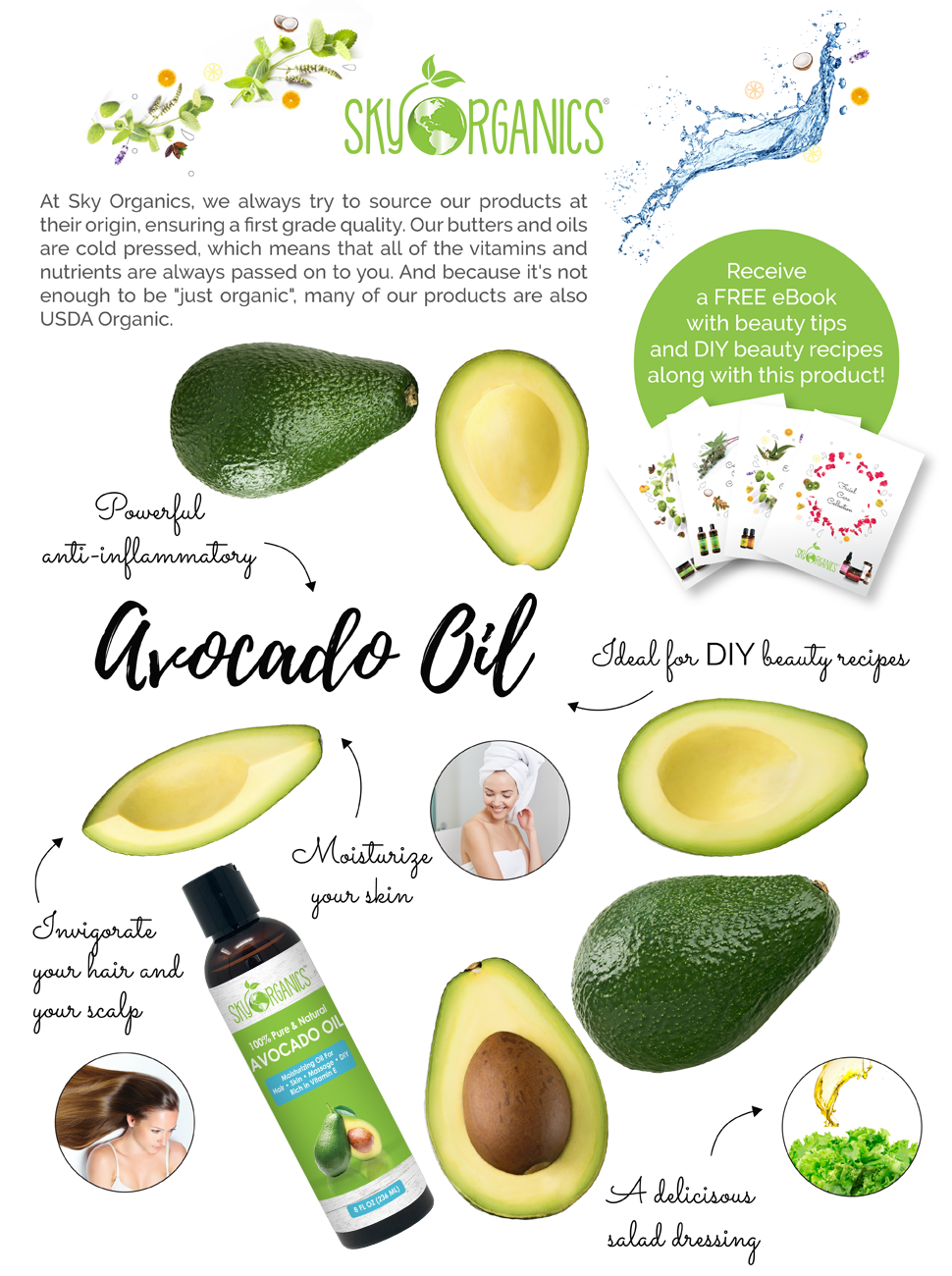 Avocado Oil by Sky Organics - 100% Pure, Natural & Cold-Pressed Avocado Oil  - Ideal for Massage,