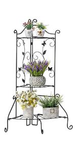 Amazon Com Worth Garden Plant Stand Foldable 3 Tier Shelf Black