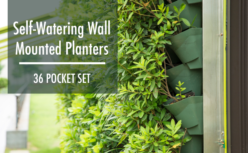 worth garden 36 pocket self watering vertical wall hanging flower pot planters