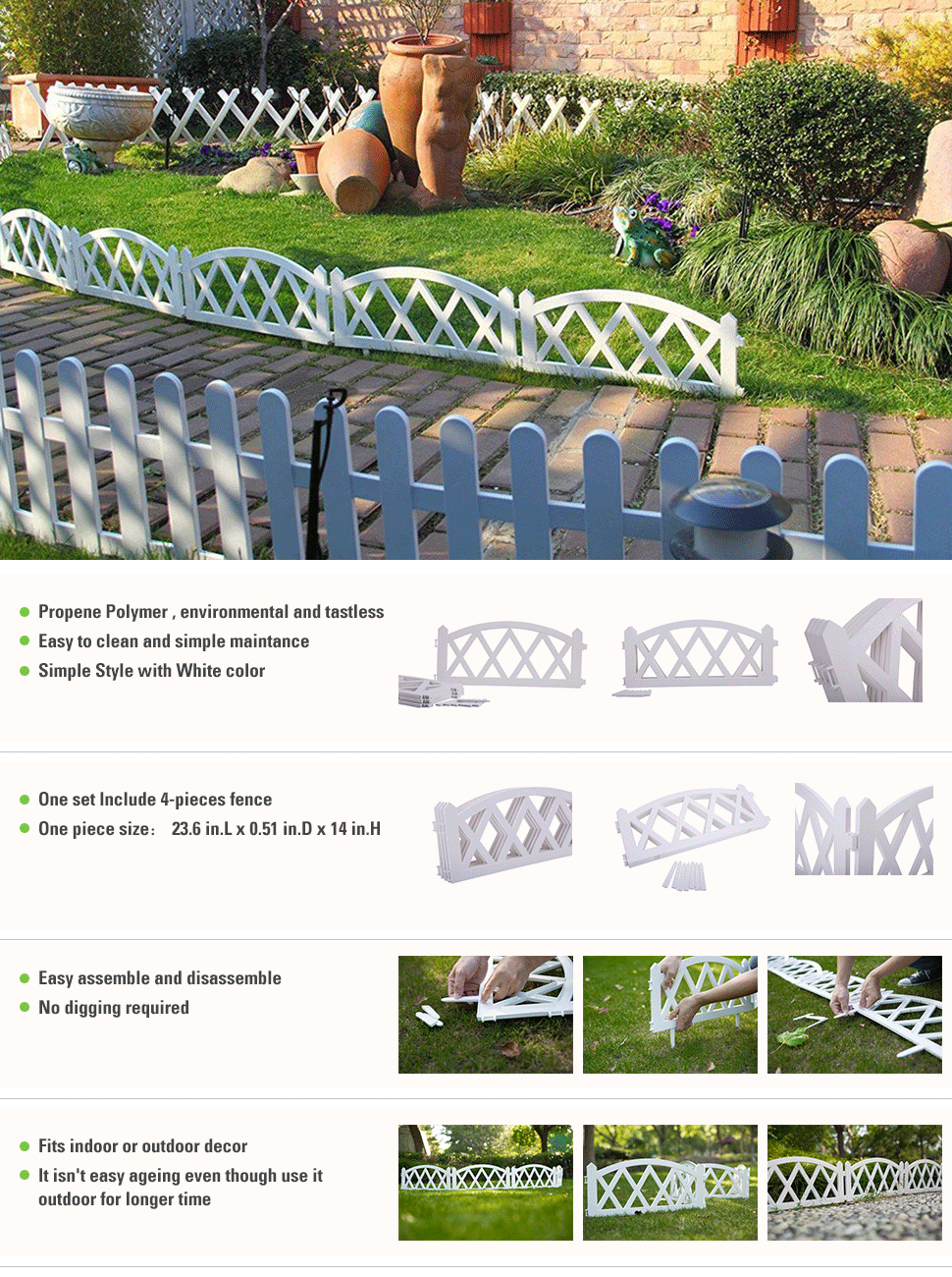 Perfect Worth 4 Pieces Garden Plastic Fence For Indoor Outdoor