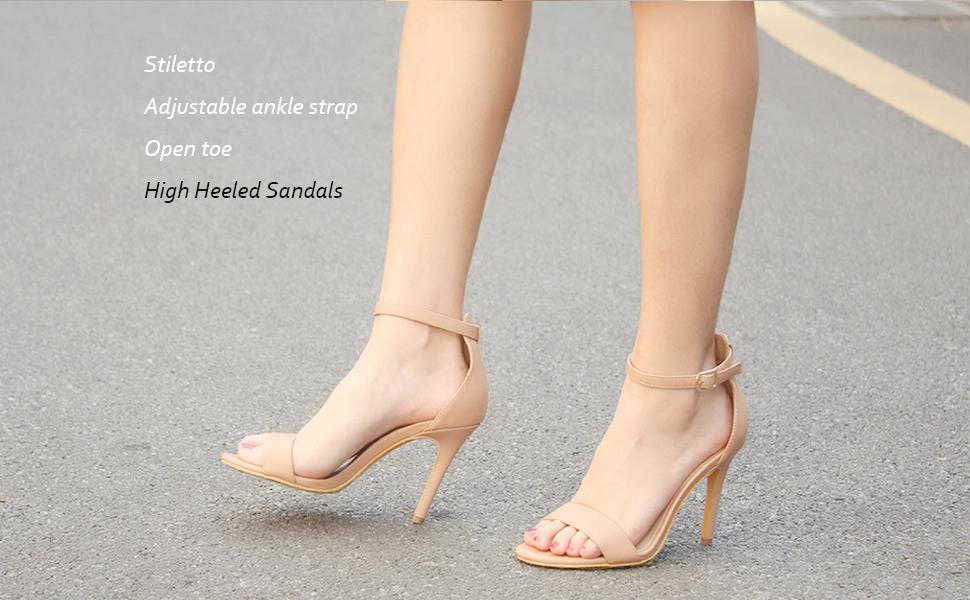 Women's Open Toe Stiletto Strappy Heeled Sandals Ankle Strap High Heel 10 cm 11 cm Dress Party Work Dance Evening Wedding Sandals