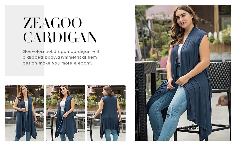 Zeagoo Womens Plus Size Sleeveless Cardigan Sweater Vest Solid Asymetric Hem
