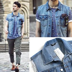 Coofandy Men S Sleeveless Denim Vest Casual Slim Fit Lapel Jeans